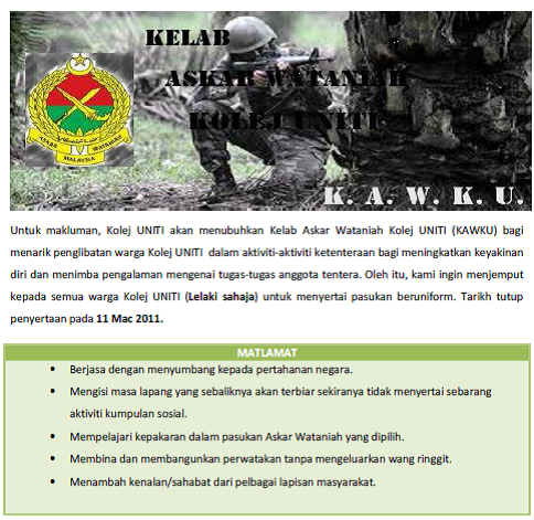 Jom Jadi Askar Wataniah Kolej Uniti Blog Kolej Uniti