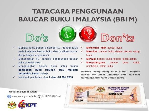 Etika Melunaskan Baucar Buku 1Malaysia (BBIM)